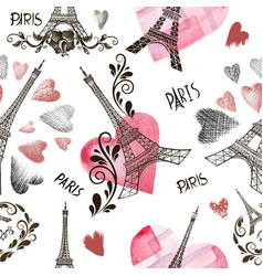 seamless background eiffel tower vector image