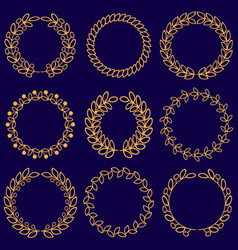 Set of floral monochrome round wreaths vector