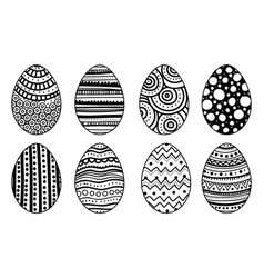 Set of hand drawn easter eggs decorative elements vector