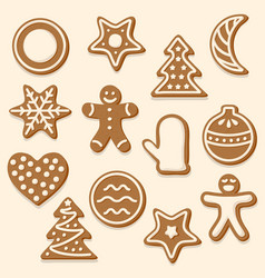set of various christmas cookies vector image vector image