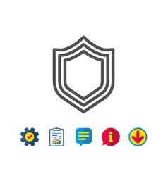 shield line icon protection or security sign vector image
