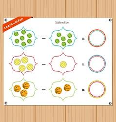 Subtraction number - worksheet for education vector