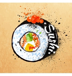 Sushi poster watercolor vector