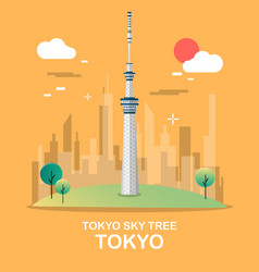 Tokyo sky tree great building in japan design vector