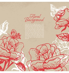 Vintage floral background with butterflies vector image