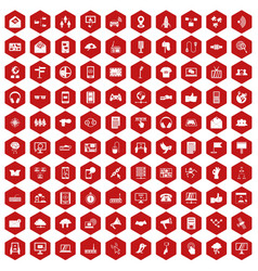 100 communication icons hexagon red vector image vector image