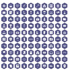 100 crime icons hexagon purple vector