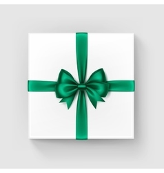 White gift box with bright green bow and ribbon vector