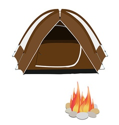 Camping tent and campfire vector