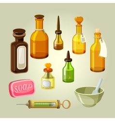 Empty bottles flasks potions and drops vector