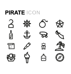 Line pirate icons set vector