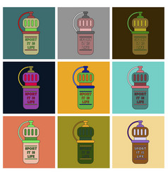 Set of icons in flat design sports bottle vector