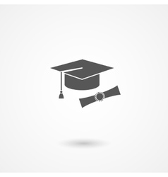 Graduation cap and diploma icon vector image