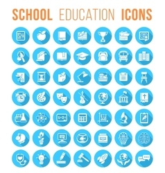 Round flat white school icons silhouettes with vector