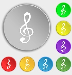 Treble clef icon symbols on eight flat buttons vector