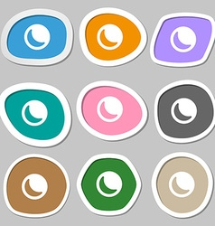 Moon icon symbols multicolored paper stickers vector