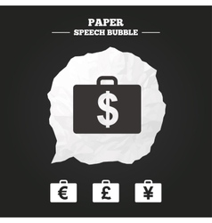 Businessman case signs cash money icons vector