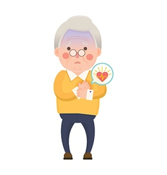Old man heart attack cartoon character vector