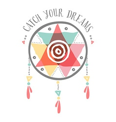Catch your dreams boho tribal color dreamcatcher vector