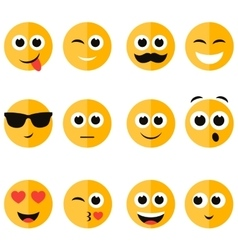 Set of emotional face icons vector