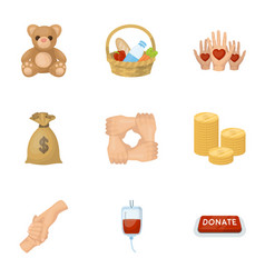 Charitable foundation icons on helping people and vector