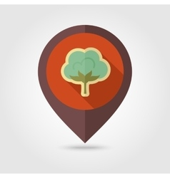 Cotton flat mapping pin icon with long shadow vector