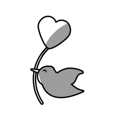 Cute bird heart balloon romantic vector