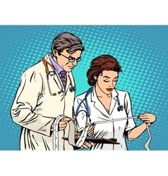 Doctor and nurse looking cardiogram vector