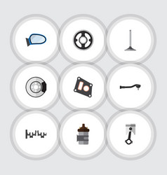 Flat icon component set of auto component gasket vector