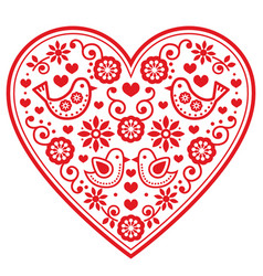 Folk heart pattern with flowers and birds - vector