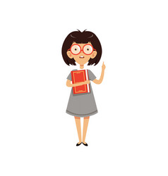 Funny nerd girl holding book and index finger up vector