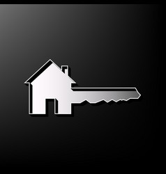 Home key sign gray 3d printed icon on vector