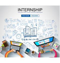 internship concept with business doodle design vector image vector image