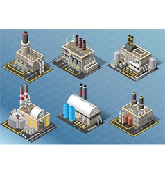 Isometric set of energy industries buildings vector