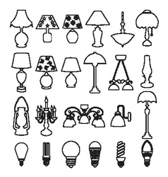 lamps and light bulb set vector image vector image