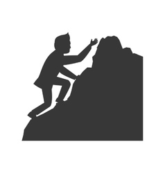 Man climbing avatar person silhouette icon vector