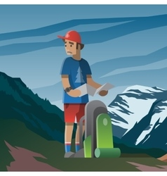 Man with map and backpack lost in the mountains vector