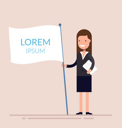 Manager or businesswoman holding a white flag in vector