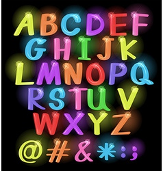 Neon coloured letters vector image