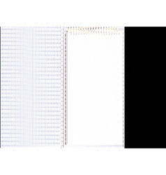 Open black striped notebook in lines vector