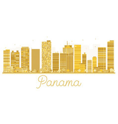 Panama city skyline golden silhouette vector