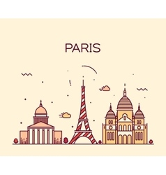 Paris City skyline Trendy line art vector image