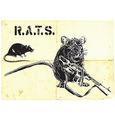 rats rat with gun - freehand drawing vector image