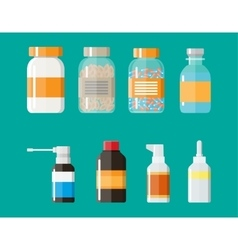 Set of medicine bottles with labels and pills vector image vector image