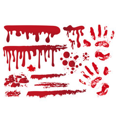 set realistic bloody streaks handprint in the vector image vector image