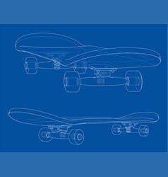 skateboard  wire-frame style vector image
