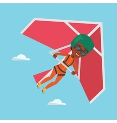 Woman flying on hang-glider vector image vector image