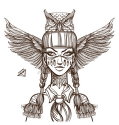 Woman with mask of an owl beautiful girl in a hat vector