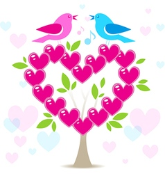 Love tree with two birds vector