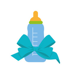Color silhouette with baby bottle and ribbon vector